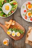 Various ways of cooking chicken eggs. Breakfast with eggs. royalty free stock photography