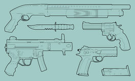 Various weapons Royalty Free Stock Image