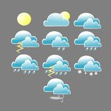 Various weather conditions icon with blue cloud stock illustration