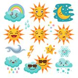 Various weather icon set. Snowflake and rain, cloudy and forecast, storm and snow. Vector illustration vector illustration