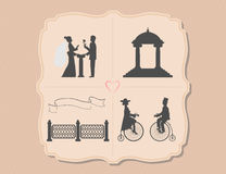 Various wedding invitations with bicycles, garden, flower, ribbon Stock Image