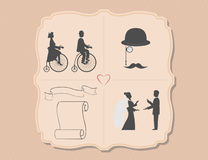 Various wedding invitations with bicycles Royalty Free Stock Photography