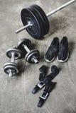 various weight lifting equipment stock image