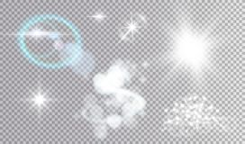 Various white and colored light effects. Different stars with rays, cinematic lens flare, bokeh clouds, soft big sun Royalty Free Stock Photography