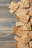 Various whole grain flatbread crackers Stock Photography