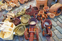 Various wicker baskets at Christmas market in Riga Royalty Free Stock Photography
