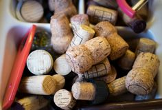 Various wine corks old and new royalty free stock photo