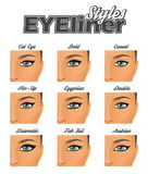 Various winged eyeliner styles make-up chart Stock Photography