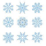 Various winter snowflakes set Royalty Free Stock Images