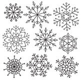 Various winter snowflakes vector set, elements for christmas design Stock Photo