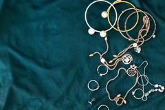 Top view shot of various woman accessories background stock photos