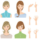 Various woman pose hairstyle smiles. Many women and pose of the hand Stock Photo