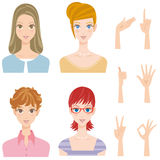 Various woman pose hairstyle smiles. Many women and pose of the hand Stock Photos
