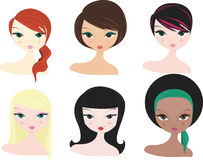 Various women. Vector illustration of heashots of various women in different styles Royalty Free Stock Photo