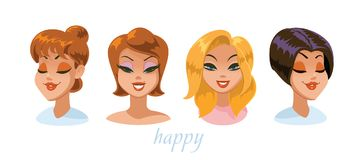 Various women character expressions set. Happy. Vector illustration Royalty Free Stock Image