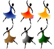 Various Women Dancing Clip Art. A clip art illustration of your choice of 6 women dancing with colorful long flowing dresses. Sorry, extra format is not stock illustration