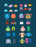 Various women and men clothes for children in cold weather. Create a character. Big set children`s clothing: hats, bags and backpacks, upper casual clothing Stock Photography
