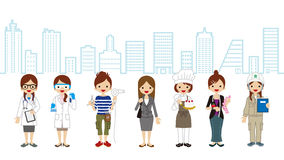 Various Women occupation - Cityscape Background Stock Photo