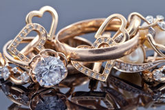 Various women's gold jewelry Royalty Free Stock Photo
