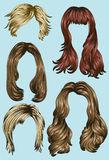 Various Women's Hair styles. Hand drawn set of different women's hair styles Royalty Free Stock Photography