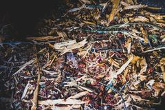Various wood chips and garden clippings. In a bin royalty free stock images