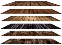 Various wood surfaces in the horizontal perspective, on a white background isolated set. Stock Photos