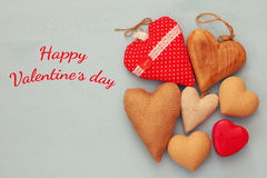 Various of wooden and fabric hearts Stock Image