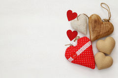 Various of wooden and fabric hearts Royalty Free Stock Photography