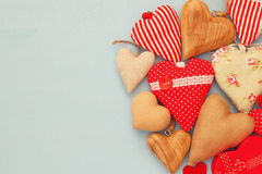 Various of wooden and fabric hearts Royalty Free Stock Photos
