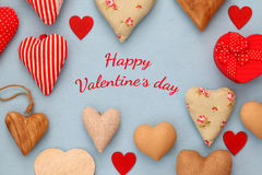 Various of wooden and fabric hearts Royalty Free Stock Images