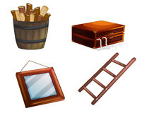 Various wooden objects royalty free illustration
