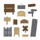 Various wooden plaques and signs Stock Photo