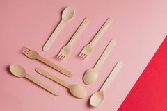 Various wooden spoons and forks stock photos
