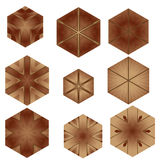 Various wooden tile flooring mosaic background Stock Photo