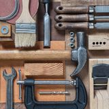 Various carpentry and DIY tools. Various woodworking, repairing, DIY tools Royalty Free Stock Photos