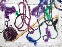 Various woolen strings knitting threads Royalty Free Stock Photos