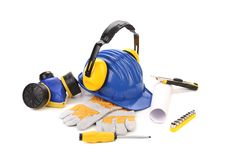 Various worker safety equipment or gear isolated Stock Image
