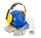 Various working equipment with hard hat. Royalty Free Stock Image