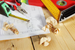Various working tools lie on the workbench Royalty Free Stock Image