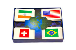 Various world country flags cards box isolated Stock Images