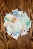 Various World Paper Money background Stock Images