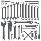 Various wrench silhouette set Royalty Free Stock Images