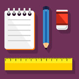 Various Writing Items Icon Stock Photography