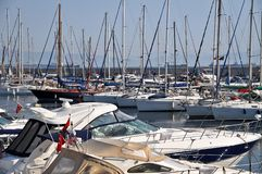 Various yachts in Istanbul Pendik Marina. The many boats of the marina in Istanbul, Turkey stock image