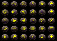 Various yellow and black butto. Miscellaneous yellow and black buttons Stock Image