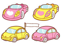 The Various Yellow and Pink Cars sets. Transportation Vector Ico Stock Photos