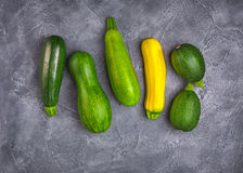 Various zucchini squash from above Royalty Free Stock Photos