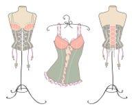Variété de corsets sexy de cru Photographie stock libre de droits