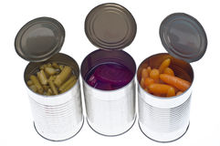 Variété de légumes en boîte dans des bidons Photos stock