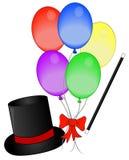 Varita y globos mágicos del sombrero Fotos de archivo